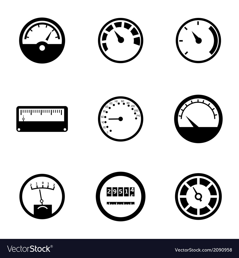 Black meter icons set