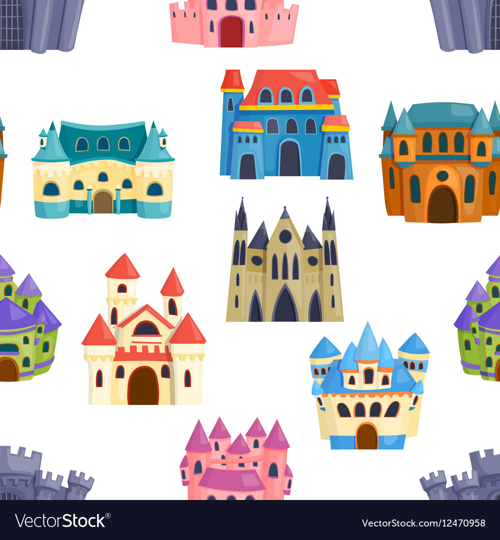 Castle seamless pattern vector image