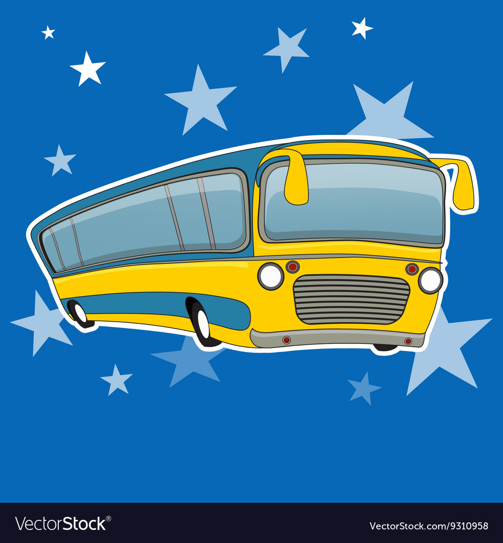 City bus icon cartoon style Yellow bus transport