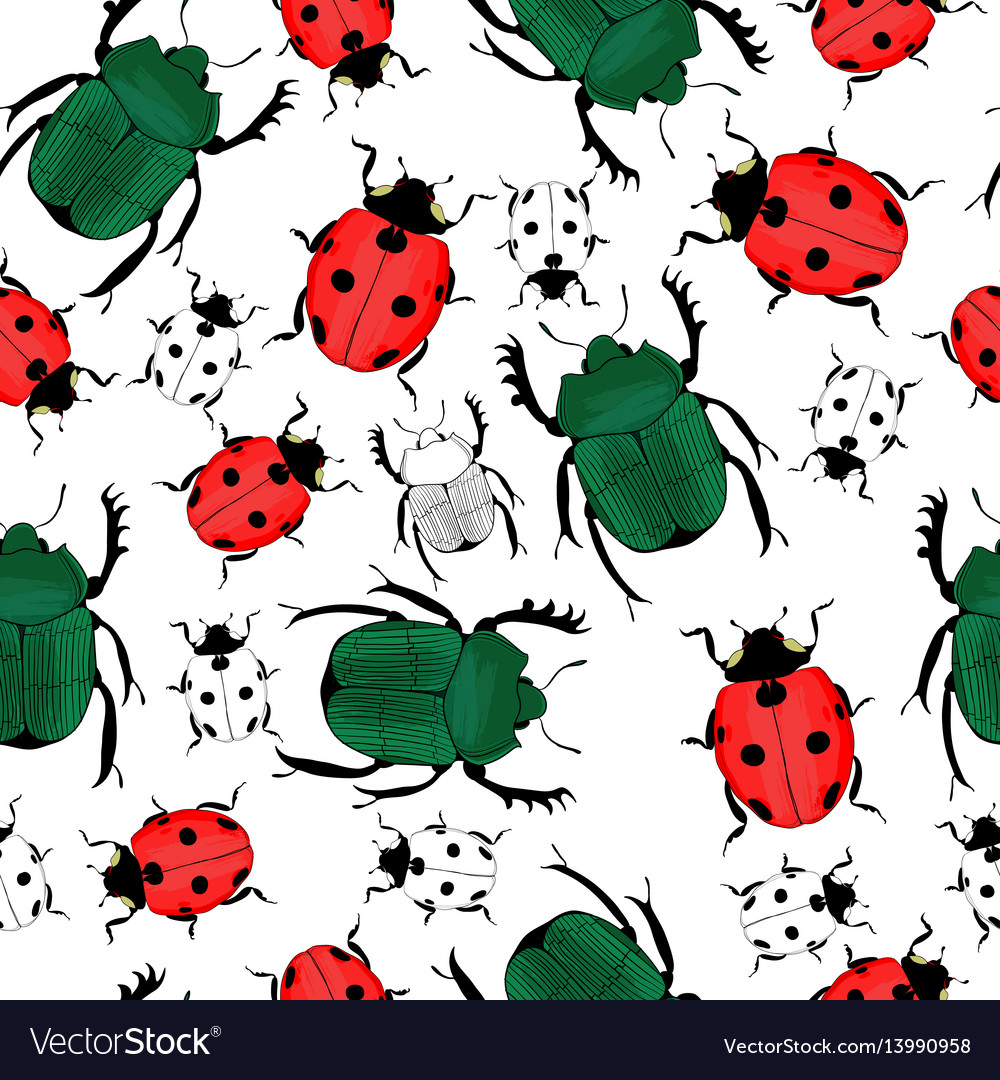 Hand drawn insects seamless pattern