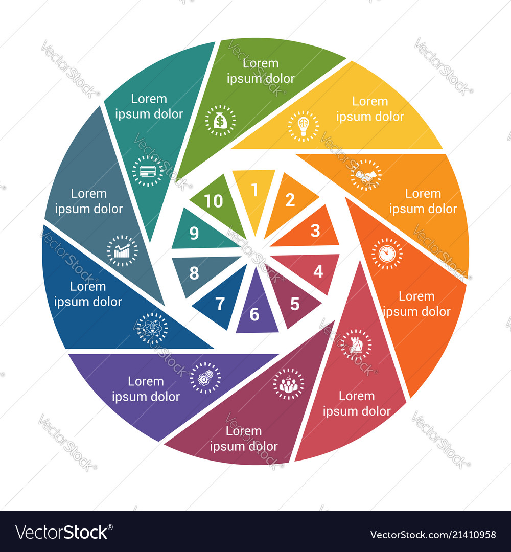 Infographic business pie chart for 10 options
