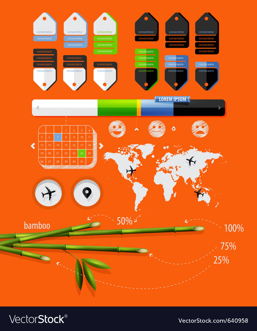 Infographics with bamboo shoots
