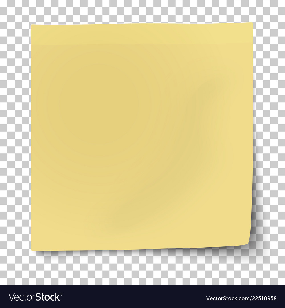 Office yellow paper sticker with bent corner