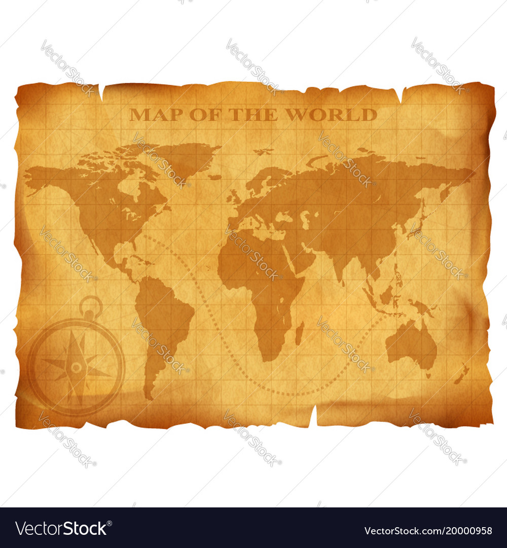 Old vintage world map ancient manuscript grunge