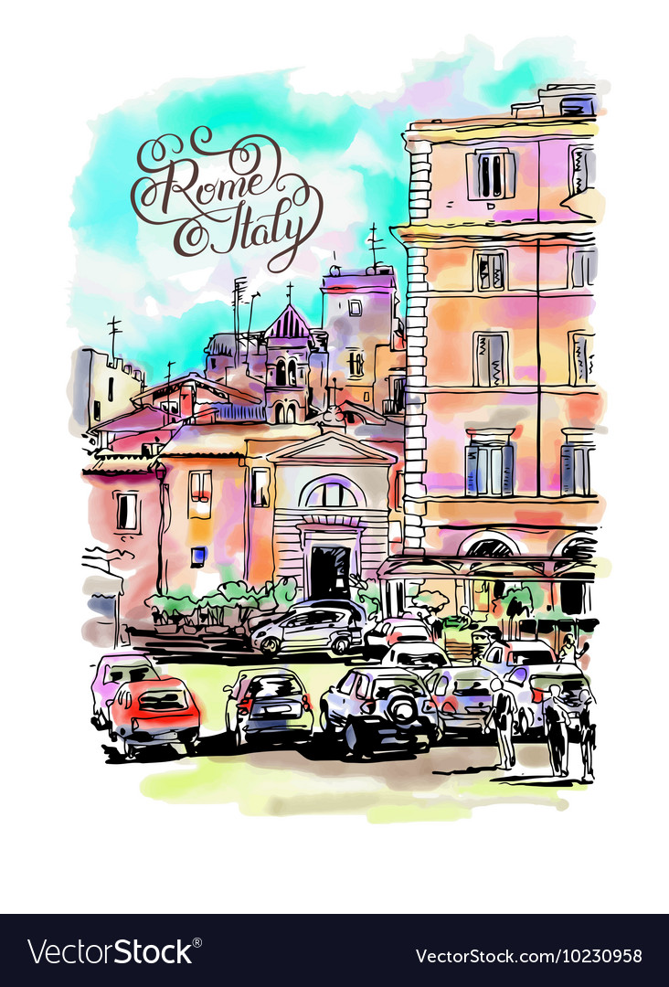 Original freehand watercolor travel card from Rome vector image