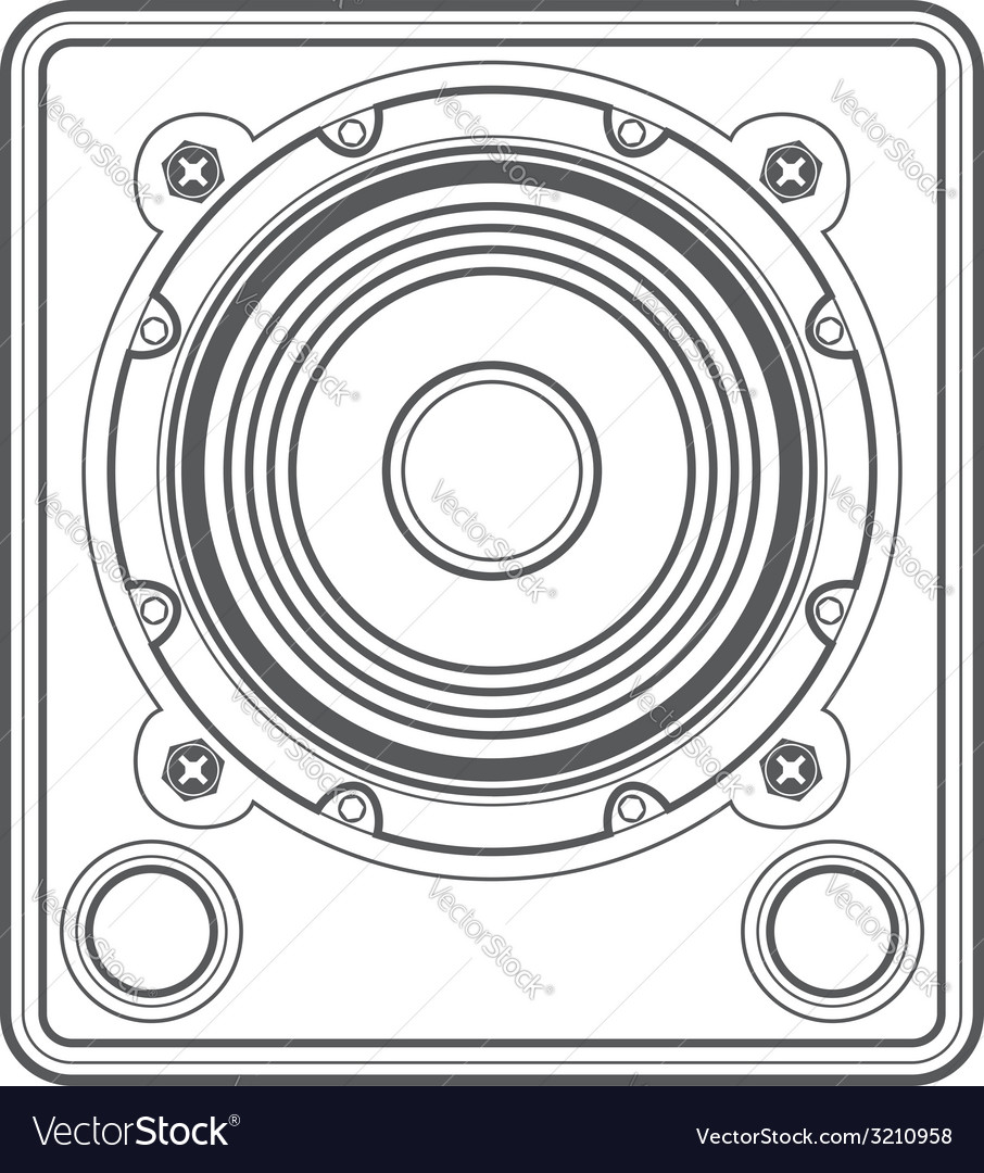 Outline concert subwoofer speaker vector image