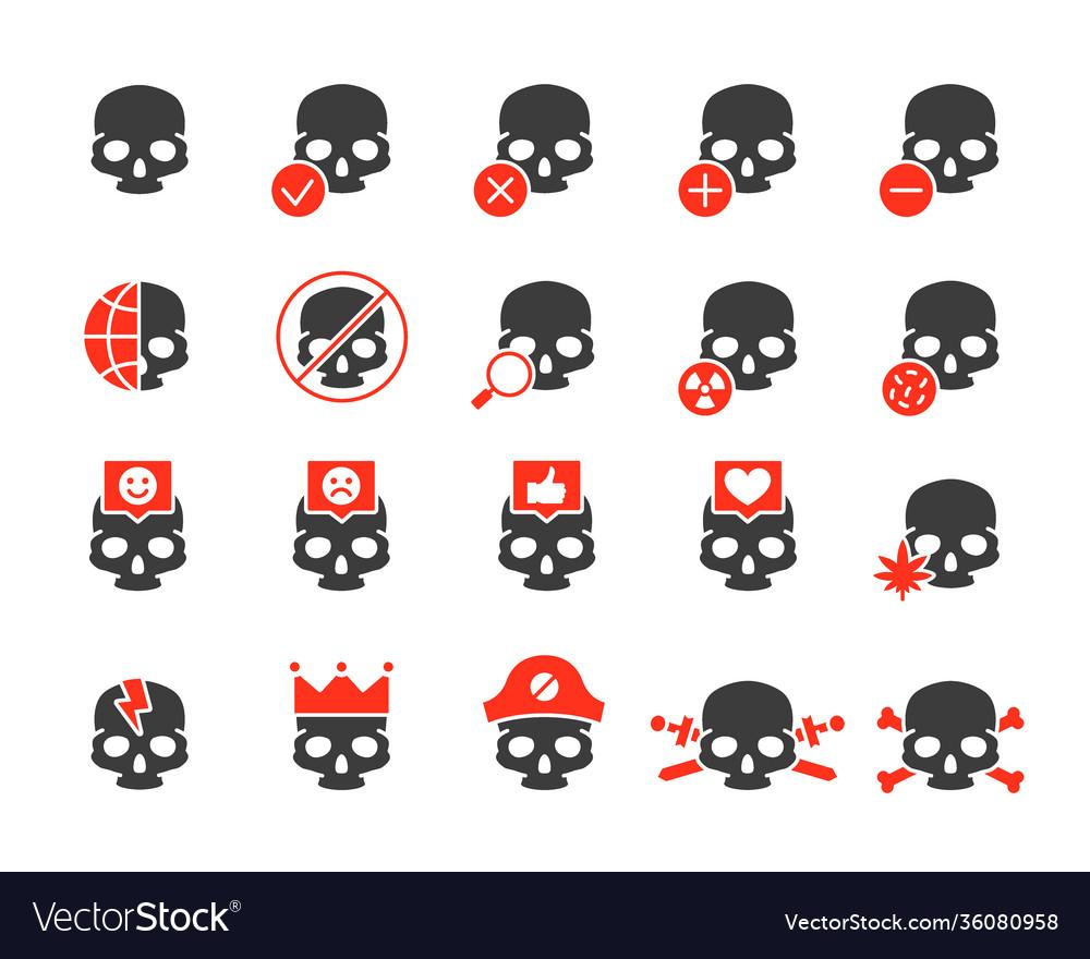 Set human skulls colored icon healthy cranium