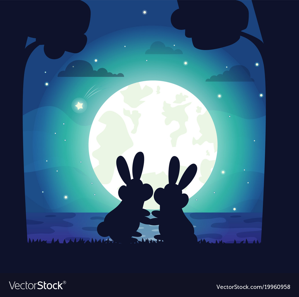 Silhouette of night sky and bunny