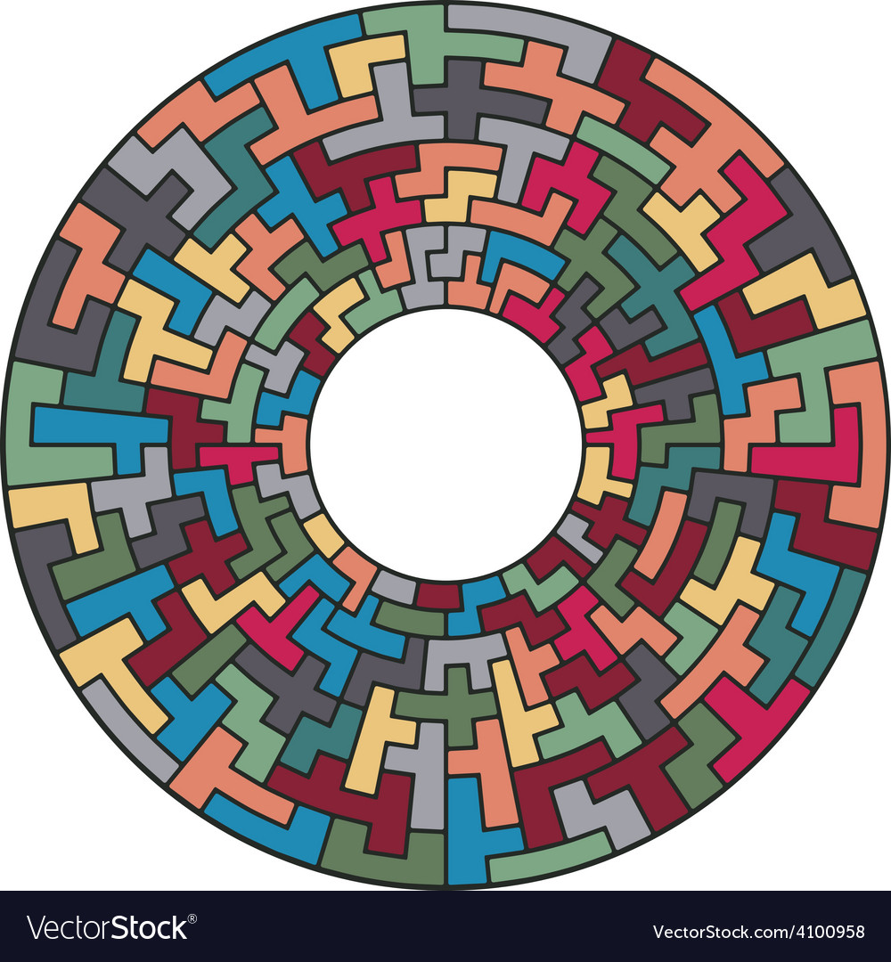 Tiled color geometric ornament vector image