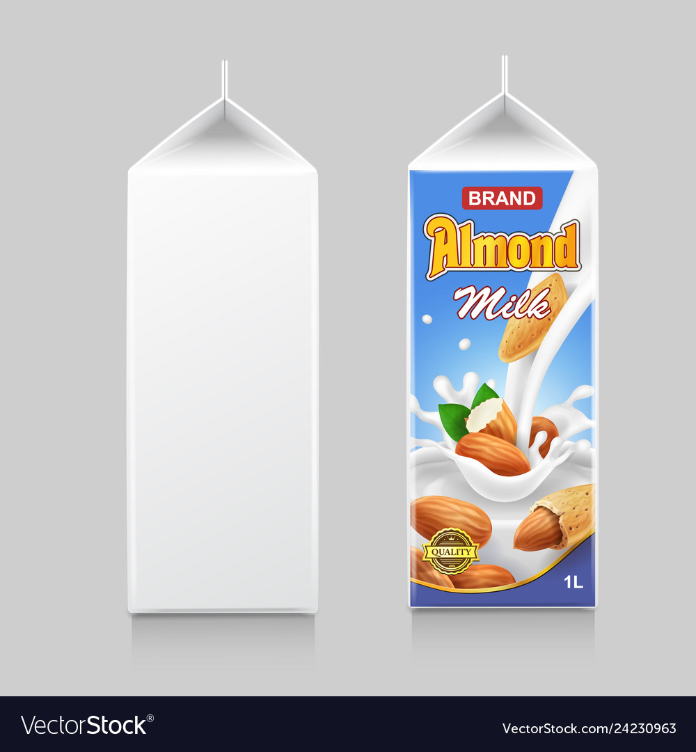 Almond milk in paper package box cardboard pack a