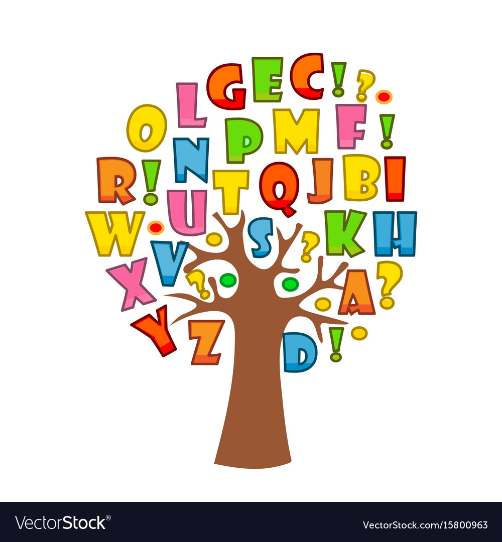 art tree with letters of alphabet for your design vector image