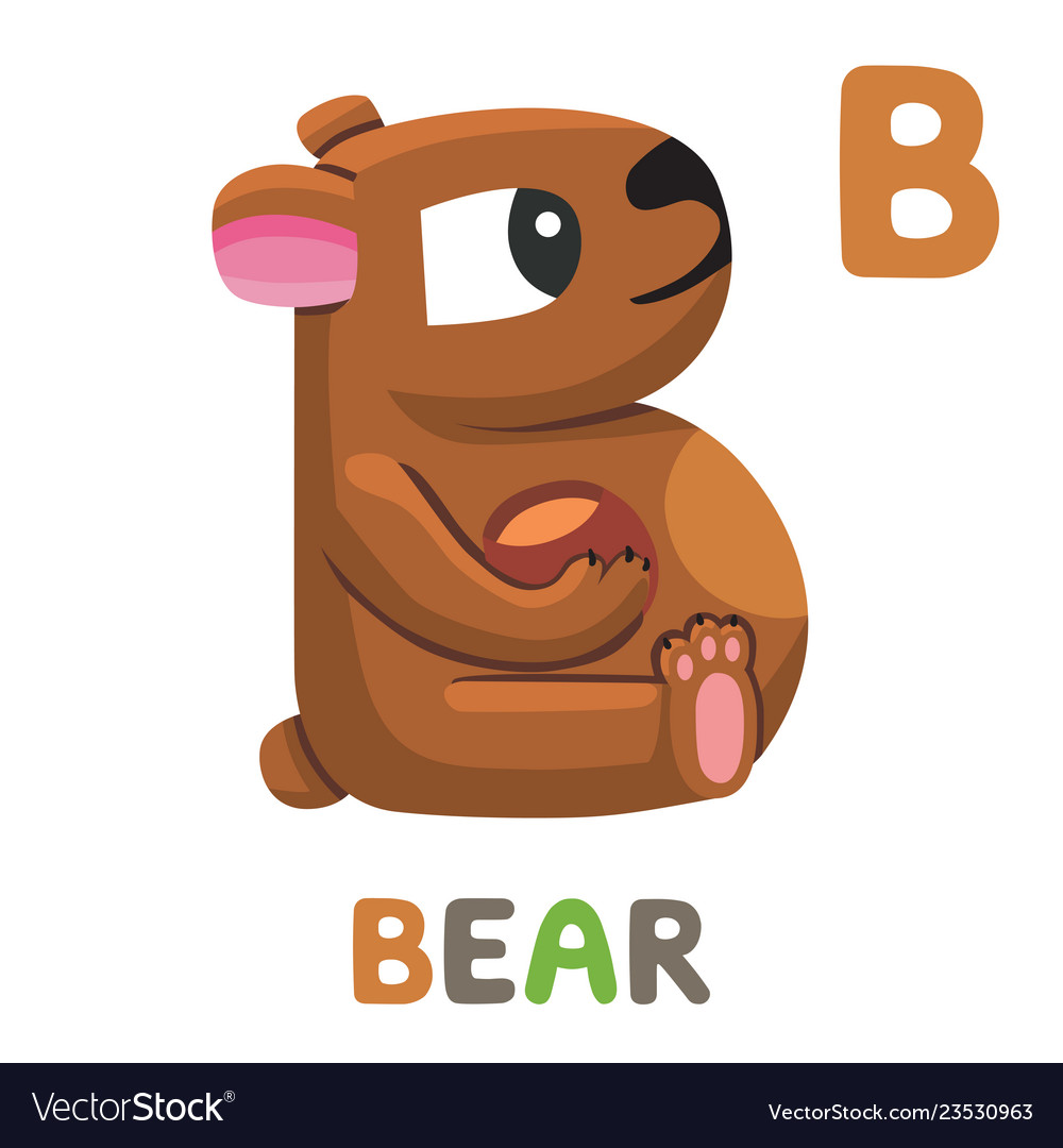 B is for bear letter b bear cute animal alphabet
