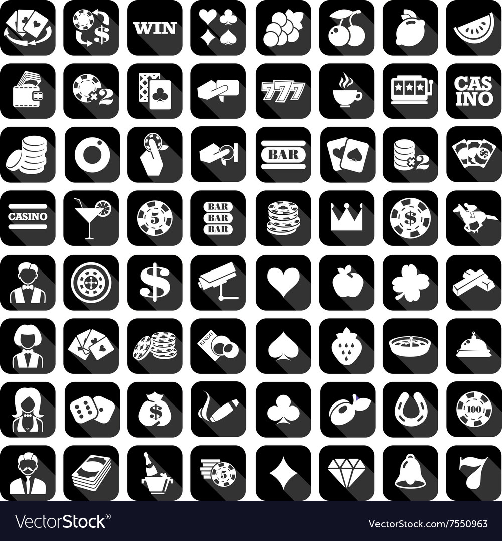 Big set of flat casino icons
