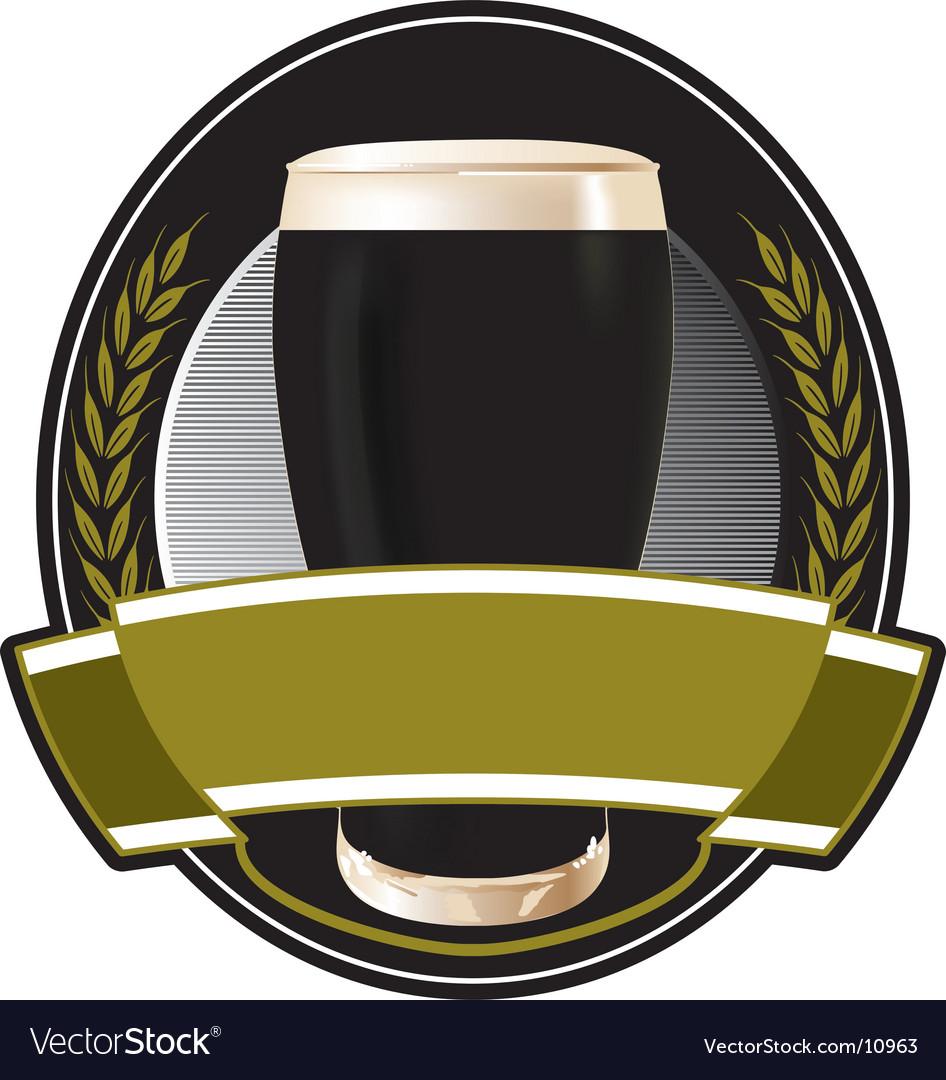 Black beer label vector image