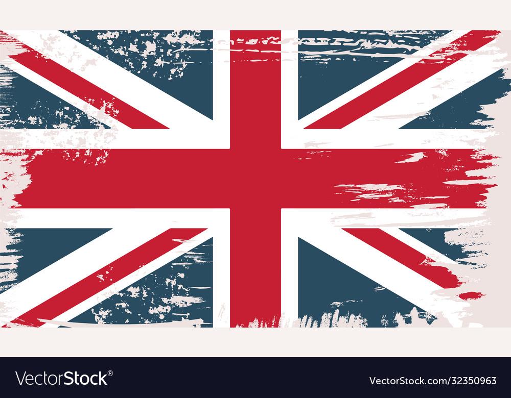 British flag in grunge vintage style