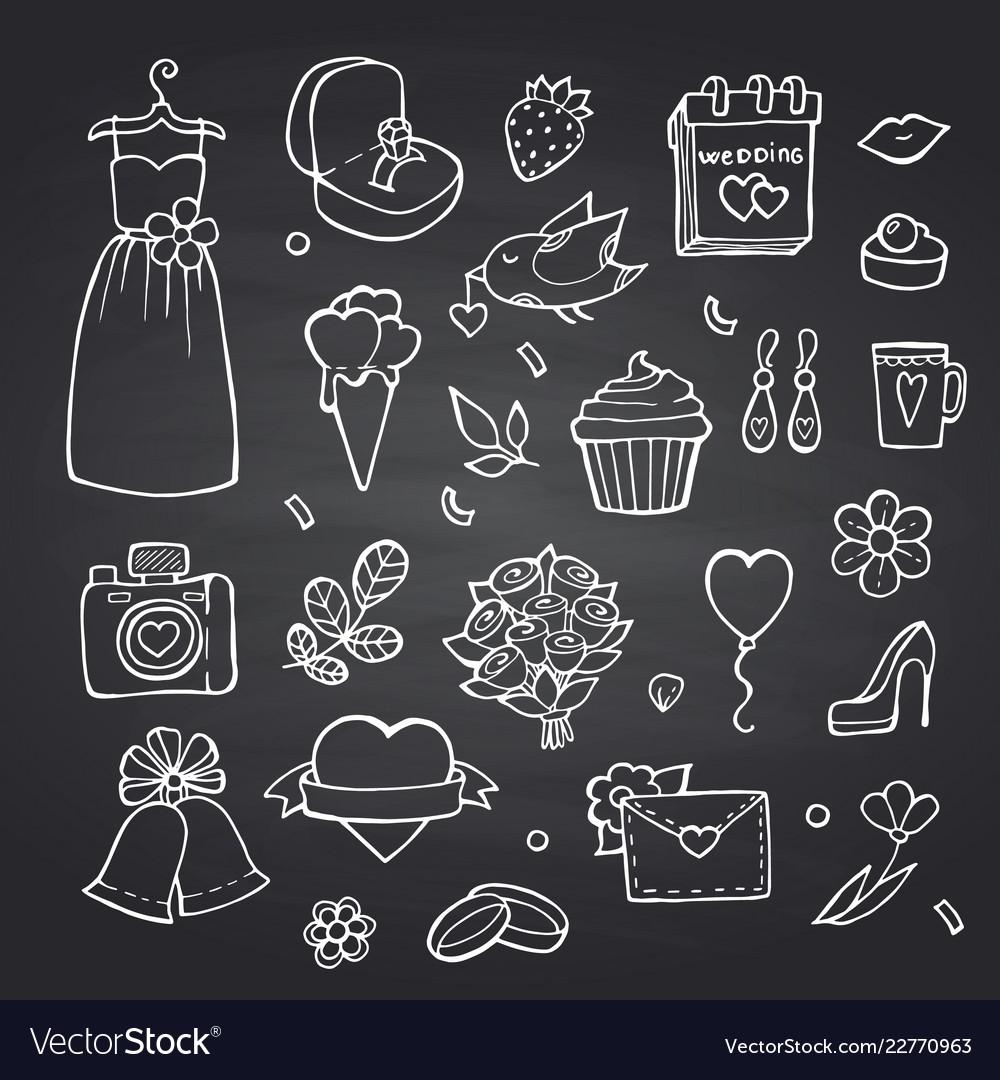 Doodle wedding elements set on black