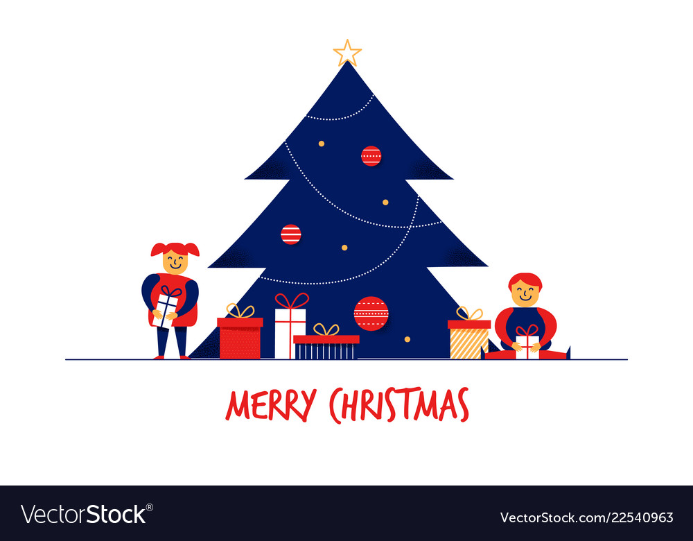 Flat cartoon boy girl family characters merry