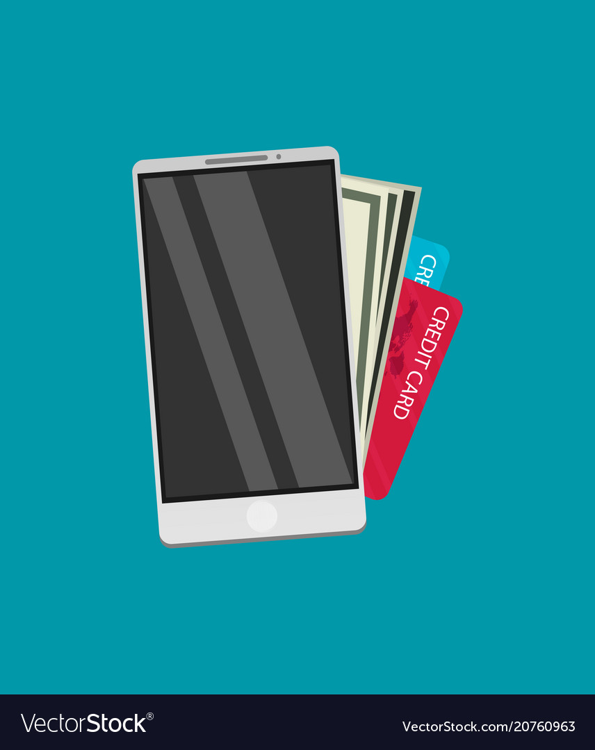 Flat design colored concept for mobile banking