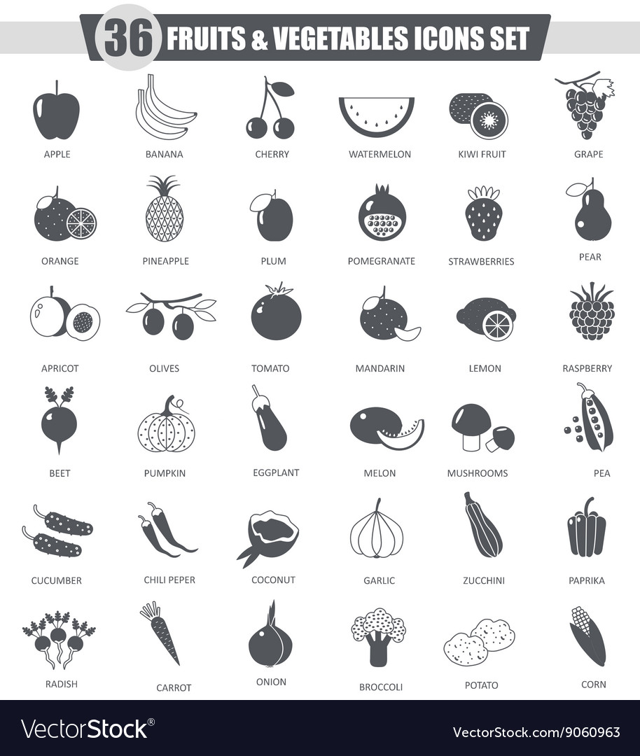 Fruits and vegetables black icon set Dark