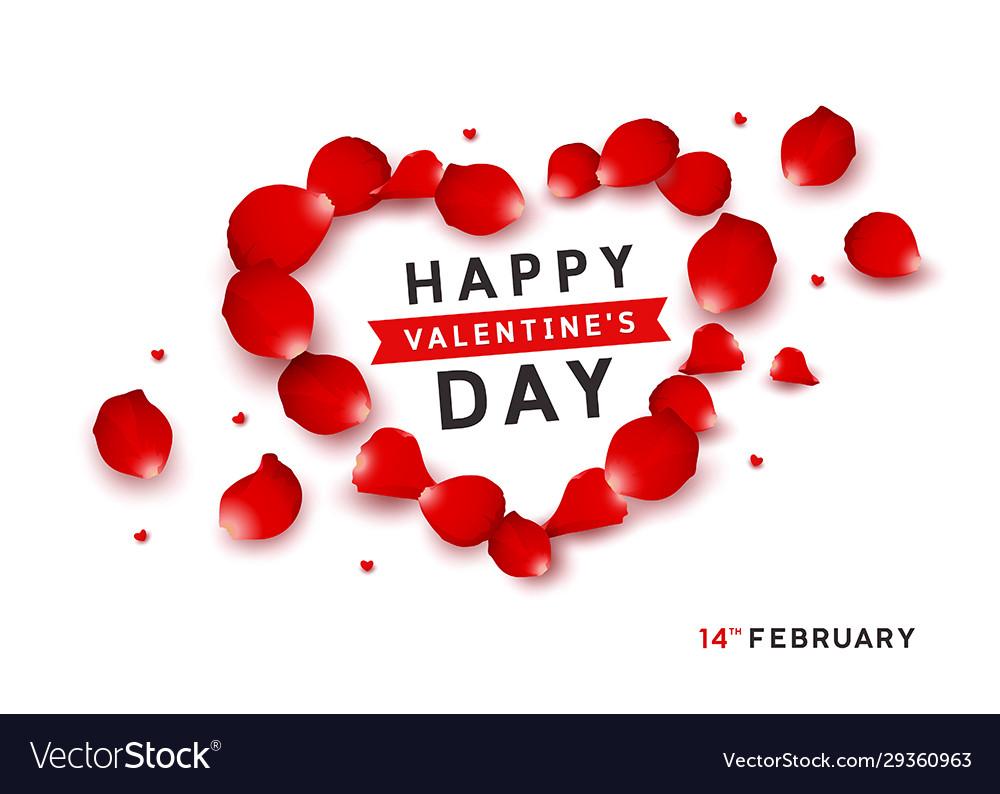 Happy valentines red petals design isolated