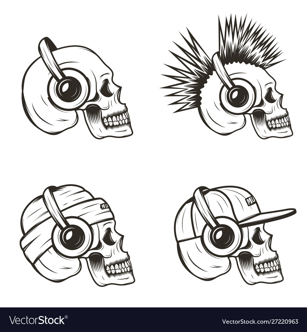 Music skull side view set hand drawn