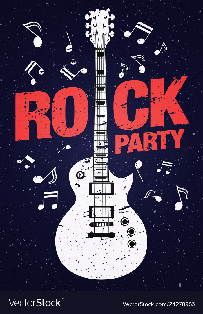 Poster flyer design template for rock party