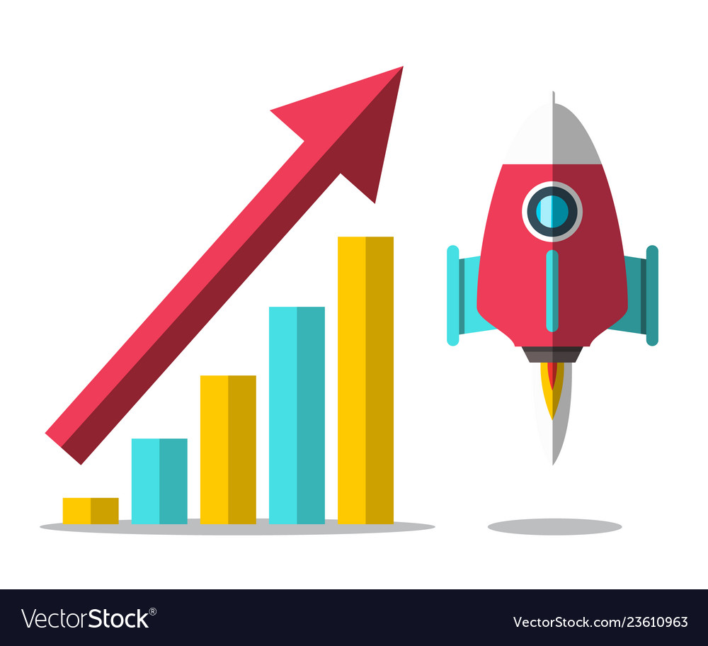 Rocket launch with arrow and success graph