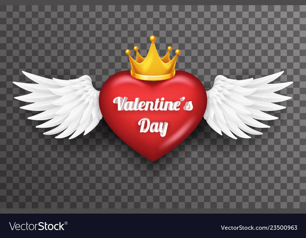 Royal crown valentine day heart white bird angel