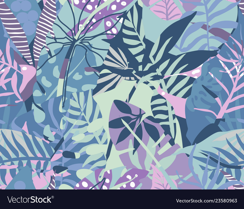 Seamless pattern with tropical plants and