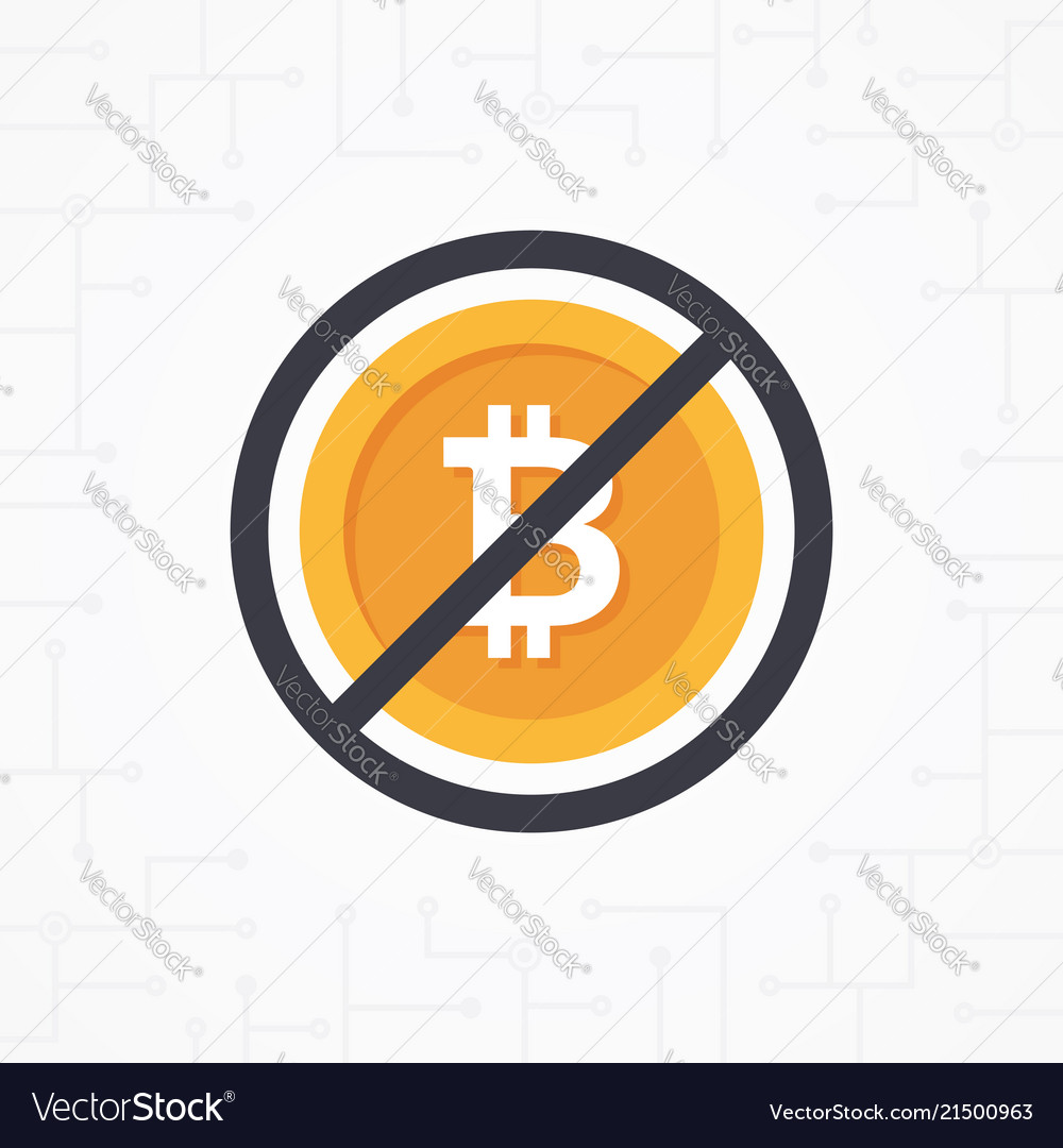 Sign no bitcoin in flat design