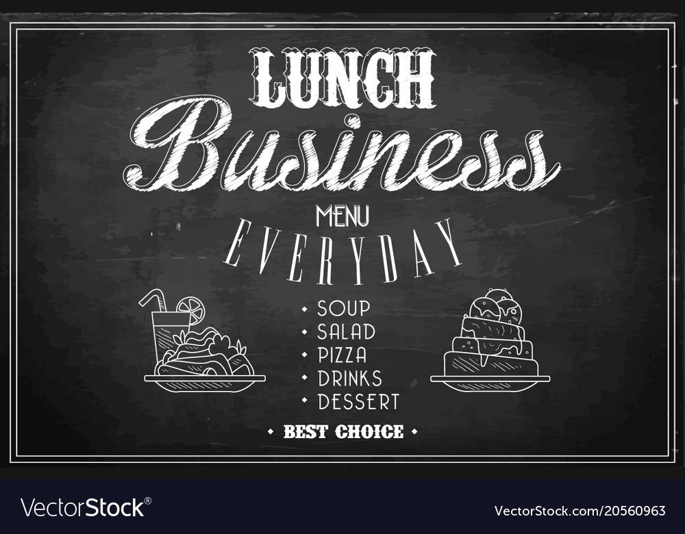 Stylish template of business lunch menu on black vector image wajeb Choice Image