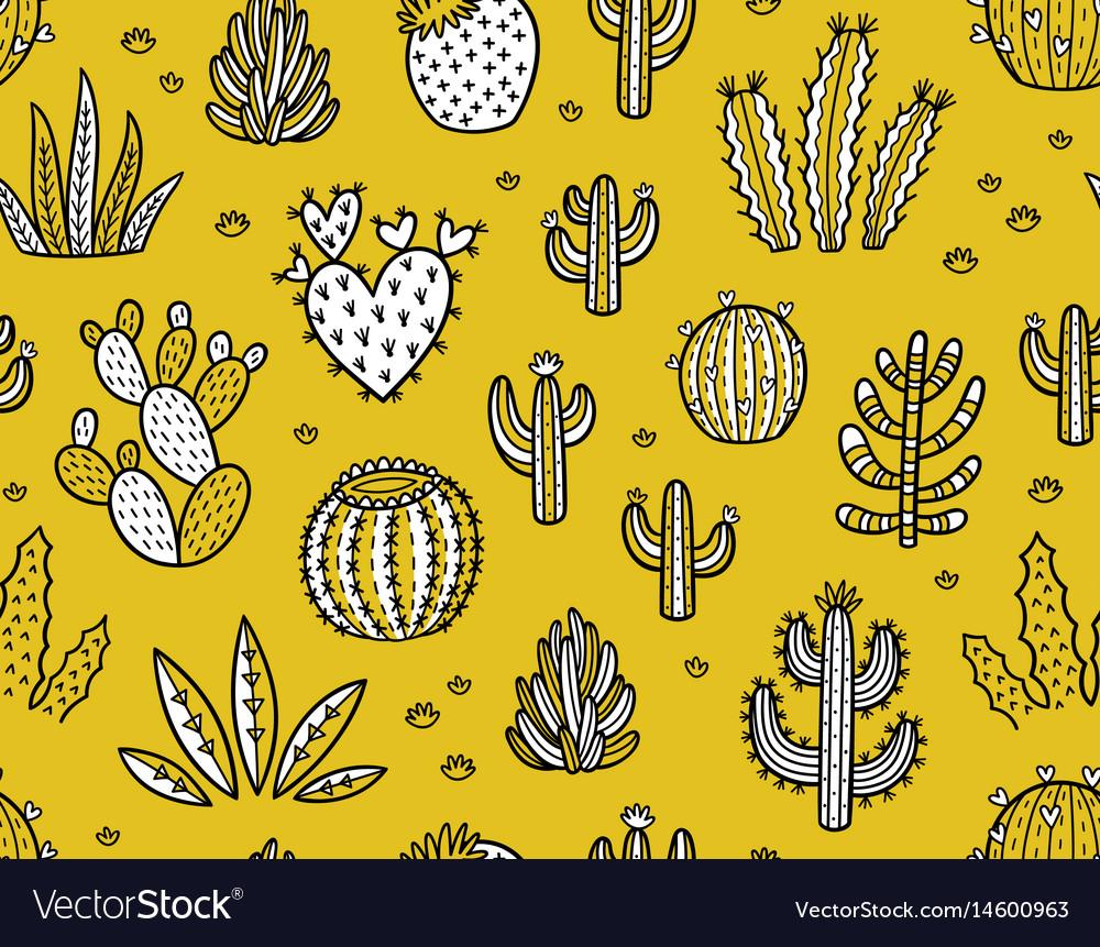 Succulent boho seamless pattern