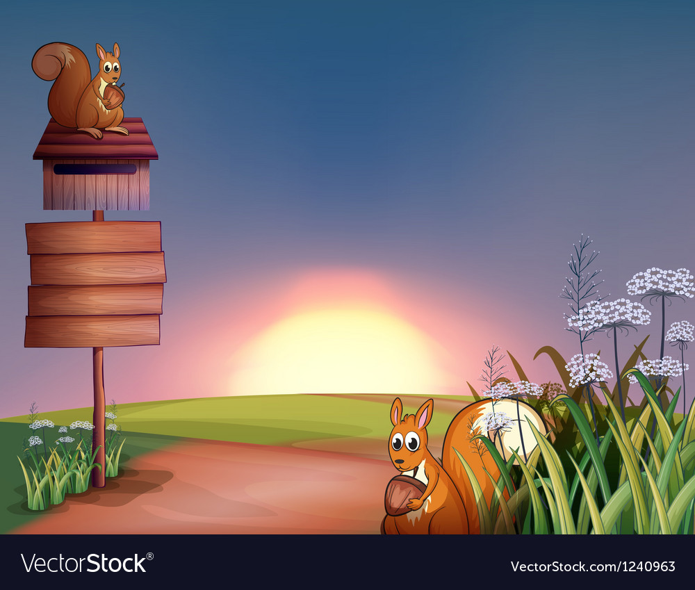 The two squirrels in the hills with a signboard vector image