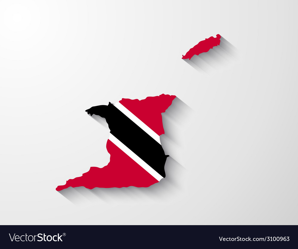 Trinidad and tobago map with shadow effect