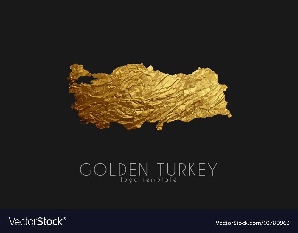 Turkey map Golden Turkey logo Creative Turkey vector image