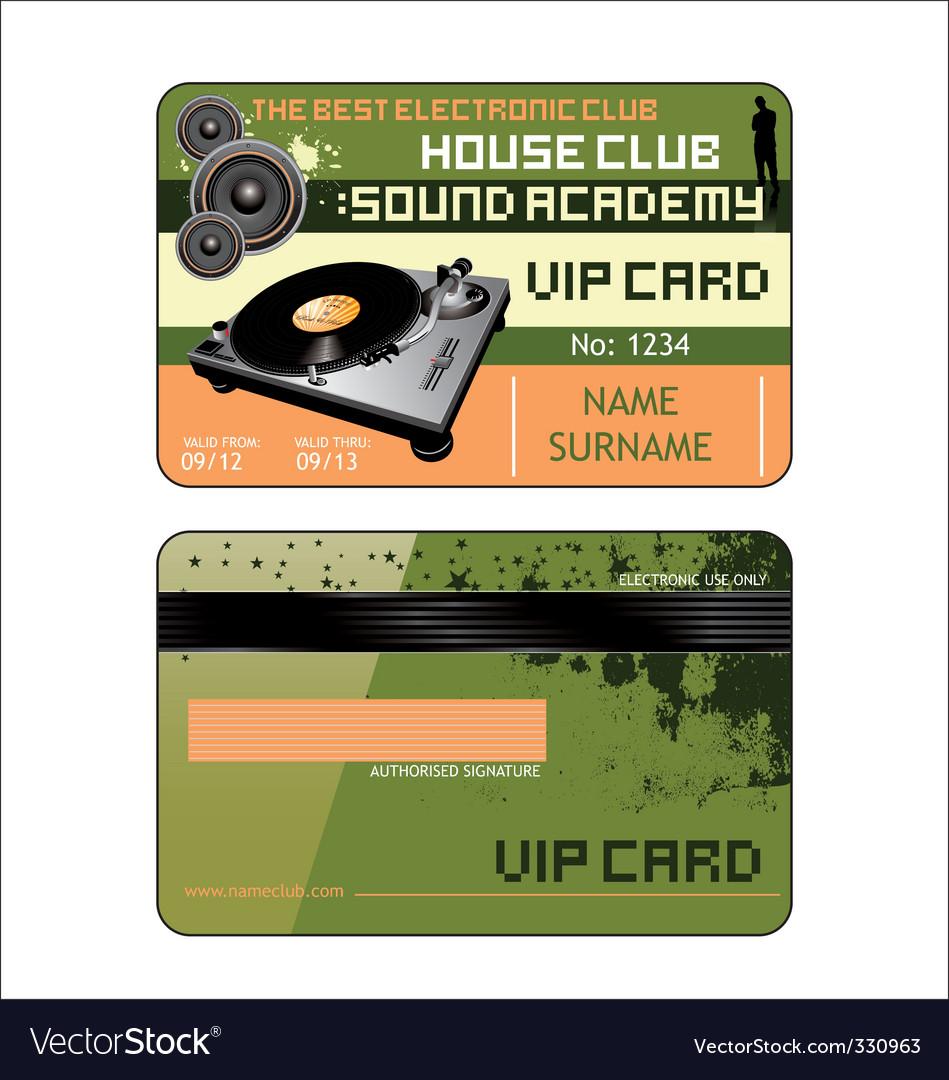 Vip house club card vector image