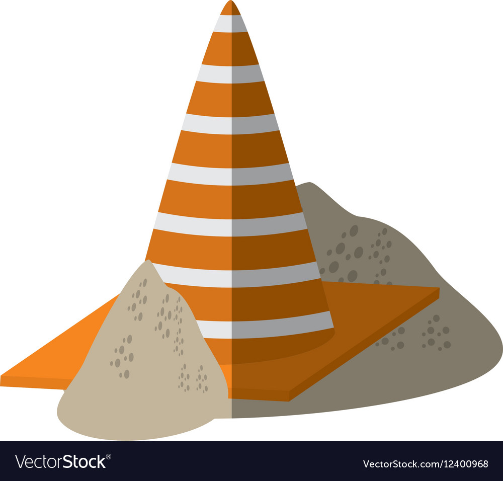Cartoon construction cone with stripes sand