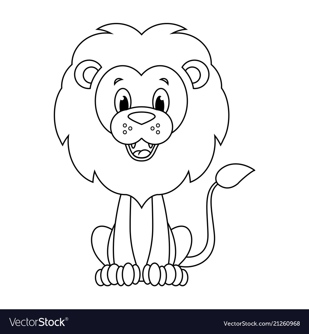 Colorless Cartoon Lion Royalty Free Vector Image ✓ free for commercial use ✓ high quality images. vectorstock
