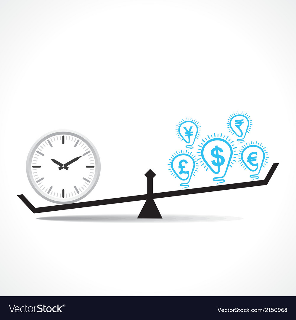 Compare clock and dollar bulb time is money