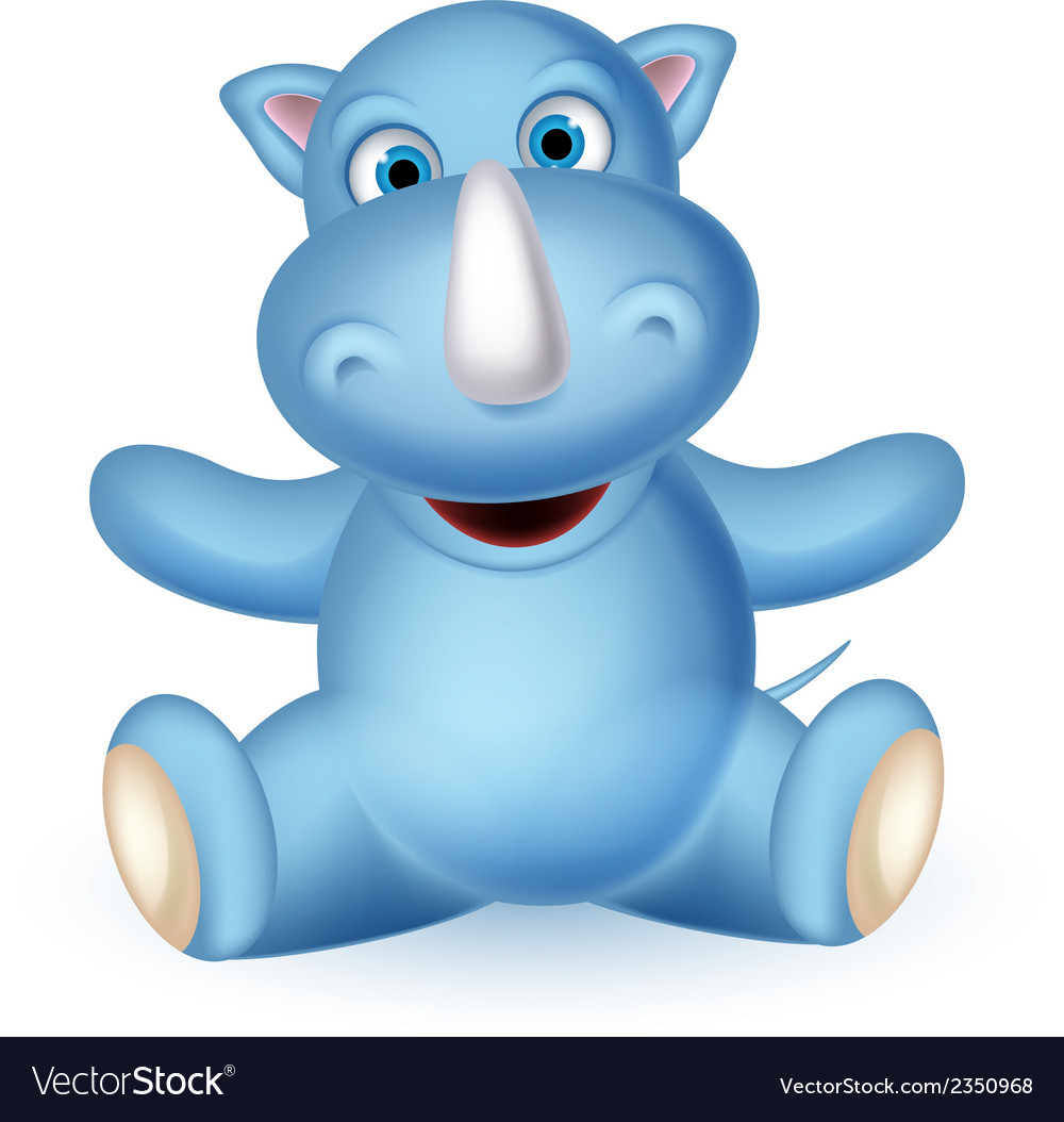 Cute baby rhino cartoon sitting vector image