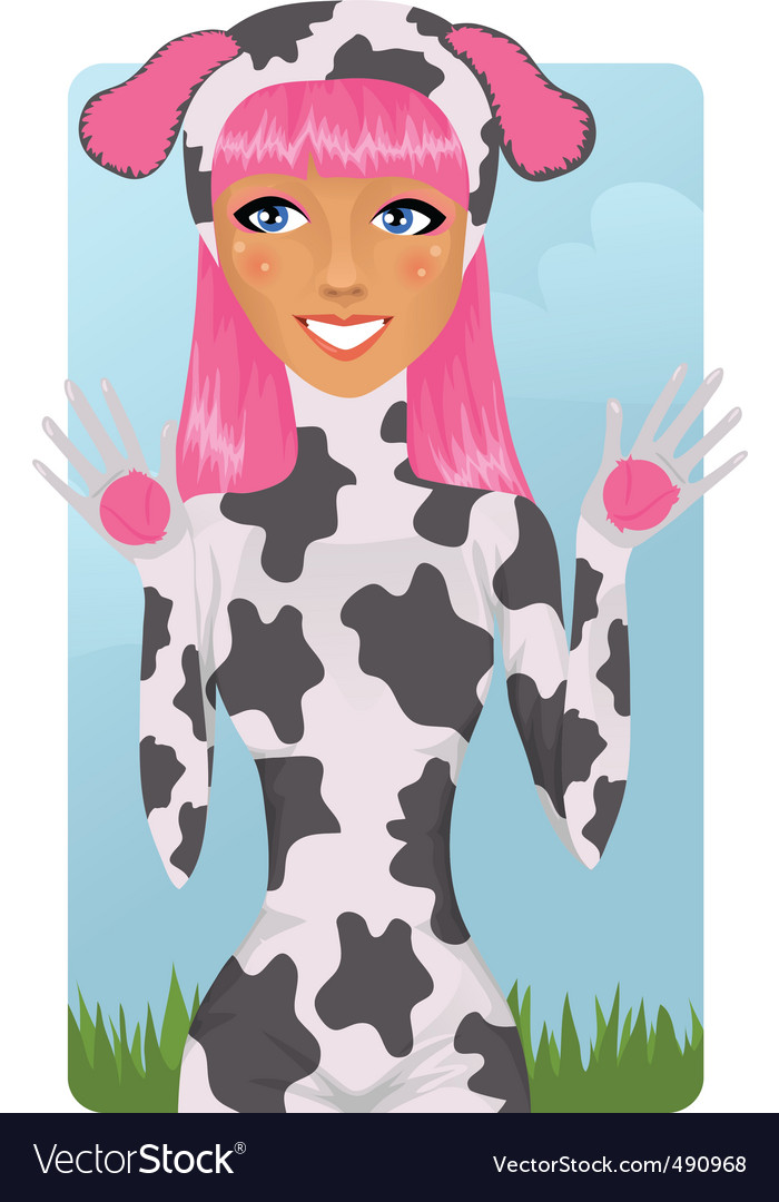 Cute girl in cow costume vector image