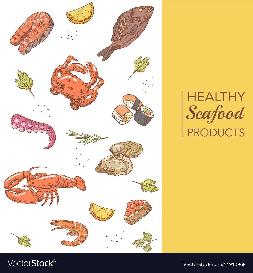 Hand drawn seafood menu design with fish crab