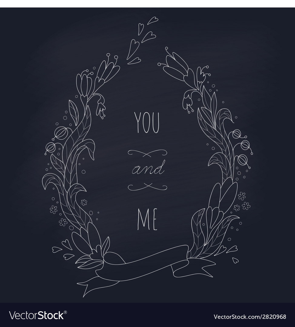 Hand drawn wedding wreath on chalkboard