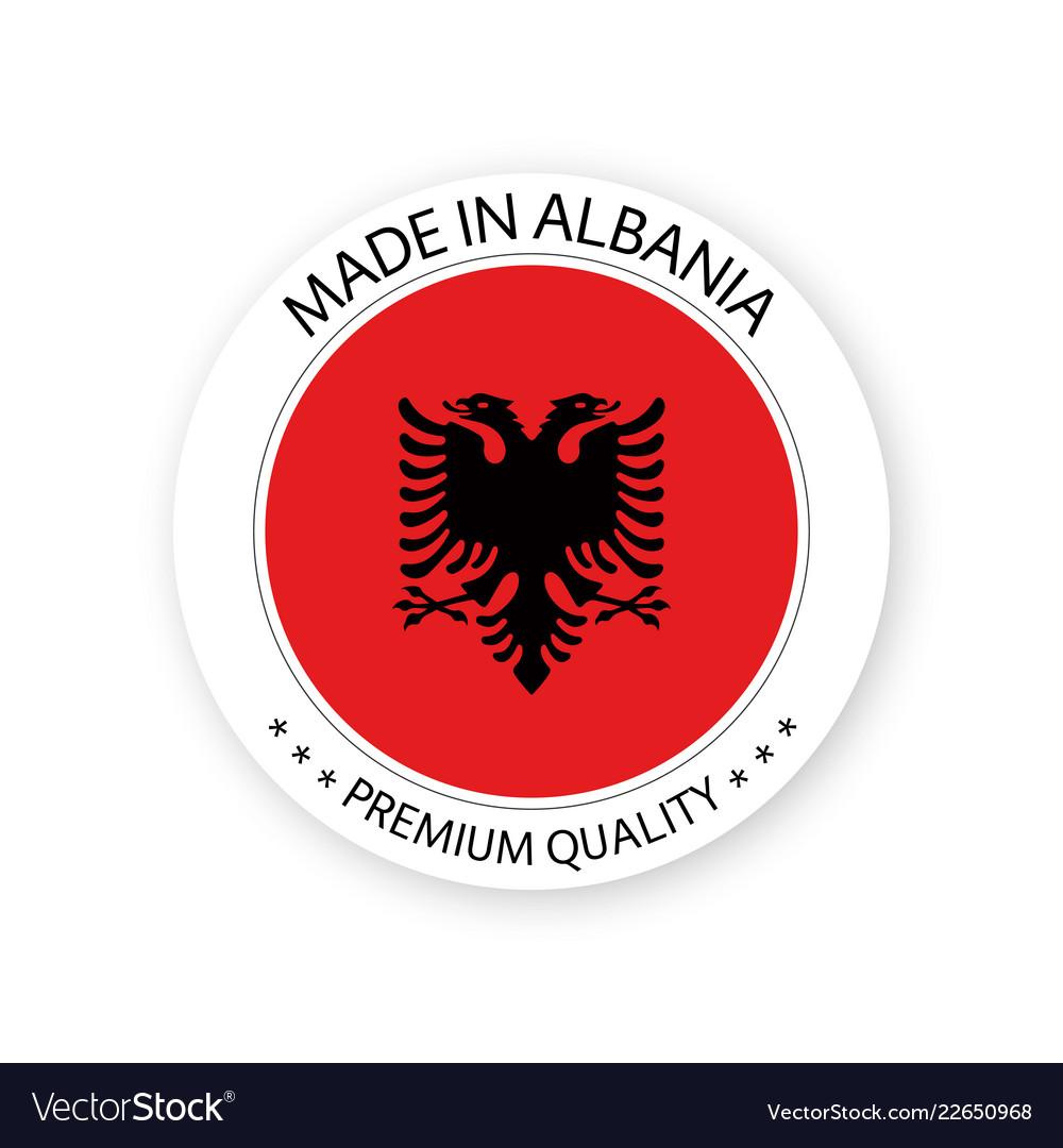 Modern made in albania label albanian sticker