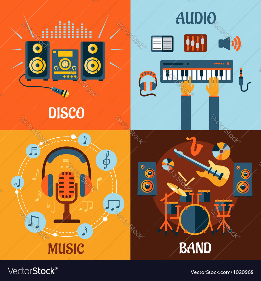 Music audio disco band flat icons