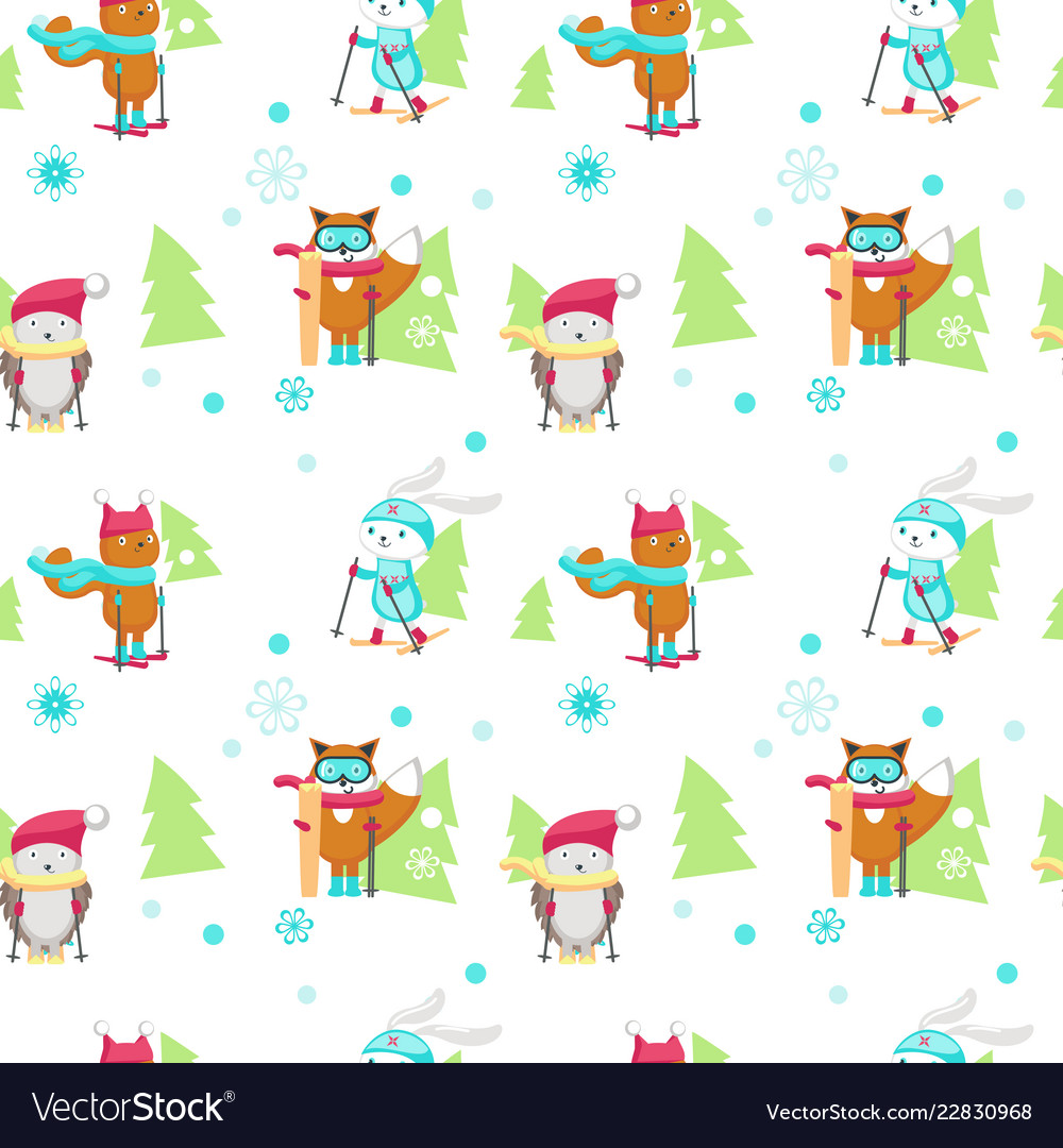 Seamless pattern with cute skiing animals