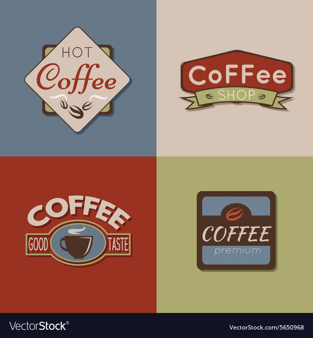 Set of coffee labels badges and logos for design