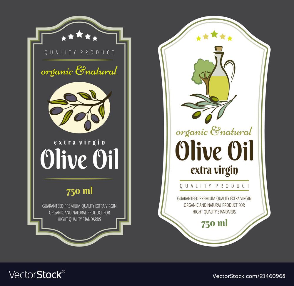 Set of labels for olive oils elegant design for vector image on VectorStock