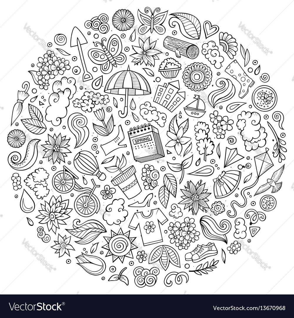 Set of spring cartoon doodle objects vector image