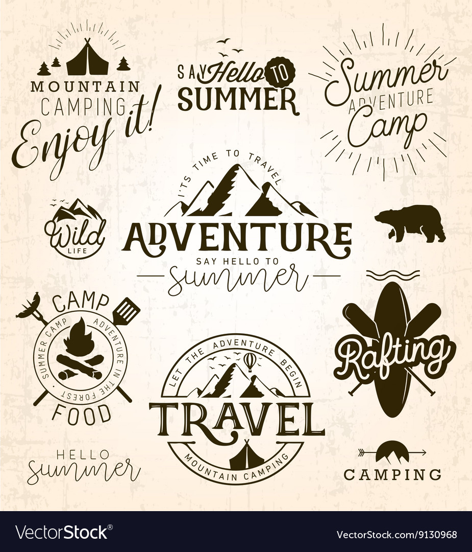 Summer Camp Adventure and Travel Design Elements vector image